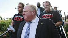 Mayor Ford arrives at the 13th Annual Ford Fest being held at Thomson Memorial Park in Scarborough on July 5, 2013. (Peter Power/The Globe and Mail)
