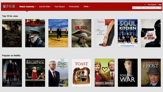 <p>Netflix selection page</p>
