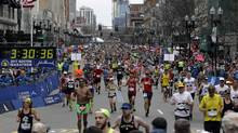 Adidas has apologized for sending out a marketing email using an unfortunate choice of words to praise customers who completed the Boston Marathon on Monday. (Elise Amendola/AP)