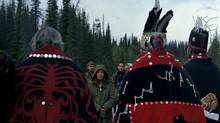 Freda Huson, middle, greets hereditary chiefs from all five clans along with staff of the Office of the Wet'suwet'en at the Unist'ot'en bridge checkpoint in northern British Columbia, September 3, 2015. In March, Indigenous organizations in the province issued a questionnaire to the BC Liberals, the BC Greens and the BC NDP asking for their positions on a variety of subjects, including their stand on the UN declaration (UNDRIP). (Rafal Gerszak For The Globe and Mail)