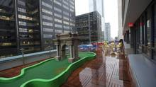 The outdoor patio at the new Google Canada offices in Toronto features a mini putt green. (Deborah Baic/The Globe and Mail)
