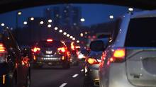 Bumper to bumper rush hour traffic on the northbound lanes of the Don Valley Parkway. (Fred Lum/The Globe and Mail)