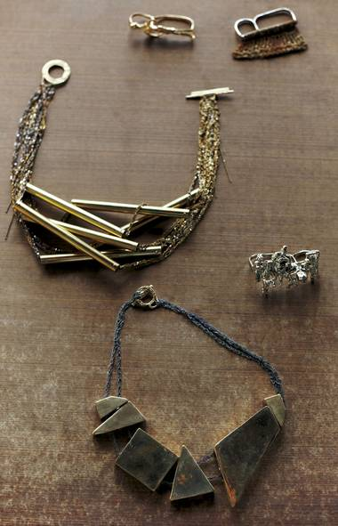 <p>Designer Arielle de Pinto often pairs crocheted metal chains with larger chunks to create strikingly modern necklaces.</p>