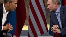U.S. President Barack Obama meets with Russian President Vladimir Putin in Enniskillen, Northern Ireland, Monday, June 17, 2013. (Evan Vucci/AP)