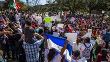 Protesters march in the streets on 'A Day Without Immigrants' on Feb. 16, 2017 in Austin, Texas. (Drew Anthony Smith/Getty Images)
