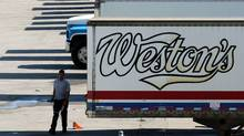 Weston Bakery truck trailers sit idle at a George Weston Ltd. owned facility on the Queensway in Toronto. (Louie Palu/Louie Palu/The Globe and Mail)