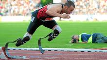 South Africa's Oscar Pistorius competes in men 400 meter on May 31, 2011 at the Zlata Tretra (Golden Spike) athletics meeting in the eastern Czech city of Ostrava. (JOE KLAMAR/AFP/Getty Images/JOE KLAMAR/AFP/Getty Images)