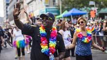Toronto police chief Mark Saunders marches during the annual Pride Parade in Toronto on July 3, 2016. (Mark Blinch/THE CANADIAN PRESS)