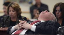 Toronto mayor Rob Ford leans back while attending a city of Toronto budget committee meeting on Nov. 25 2013. (Fred Lum/The Globe and Mail) (Fred Lum/The Globe and Mail)