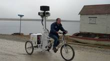 Aaron Brindle from Google Canada riding the street view tricycle in the Arctic (Courtesy of Google)