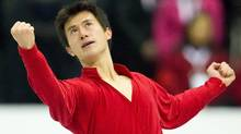 Patrick Chan of Canada finishes his free skate at Skate Canada International, in Mississauga, Ontario, October 29, 2011. Getty Images/ Geoff ROVINS (Geoff ROVINS/Getty Images)