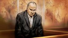 Colonel Russell Williams appears in a Belleville, Ont., courtroom on Oct. 7, 2010, as depicted by a sketch artist. (Alex tavshunsky/Alex Tavshunsky/The Canadian Press)