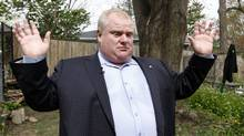 Toronto Mayor Rob Ford photographed while talking to reporters in the land of the the public park behind his house where he confronted Toronto Star reporter Daniel Dale because, Mr. Ford claims, was taking photos over his wooden fence, Toronto May 03, 2012. (Fernando Morales/The Globe and Mail/Fernando Morales/The Globe and Mail)
