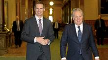Ontario Premier Dalton McGuinty, left, and Quebec Premier Jean Charest are seen following a meeting at Queen's Park in Toronto, Ont. March 5, 2012. (Kevin Van Paassen/The Globe and Mail/Kevin Van Paassen/The Globe and Mail)