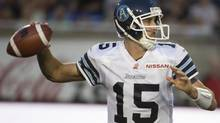 Toronto Argonauts' Ricky Ray, gets set to throw the ball down field during first half CFL action against the Montreal Alouettes in Montreal, Thursday Aug. 8, 2013. (Peter McCabe/THE CANADIAN PRESS)