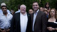 Toronto Mayor Rob Ford poses for a photograph with Ontario Progressive Conservative Leader Tim Hudak at his barbecue in Etobicoke on Sept. 2. (Matthew Sherwood for The Globe and Mail/Matthew Sherwood for The Globe and Mail)