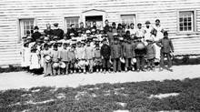 Fort Providence residential school, children and staff. (Sacred Heart Parish/NWT Archives)