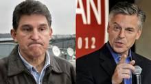 Democrat Joe Manchin, left, in a file photo from January, 2006, and Republican Jon Huntsman in 2012.