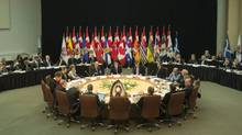 Canadian Prime Minister Justin Trudeau, United States Vice-President Joe Biden, Premiers and Indigenous leaders gather for a meeting at the First Ministers and National Indigenous Leaders meeting in Ottawa, Friday December 9, 2016. (Adrian Wyld/THE CANADIAN PRESS)