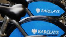 A rack of Barclays-sponsored rental bicycles is seen in London February 10, 2012. (LUKE MACGREGOR/Reuters)