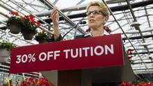 Ontario Premier Kathleen Wynne announces tuition grants for most postsecondary students from low-income families. (Aaron Lynett/THE CANADIAN PRESS)