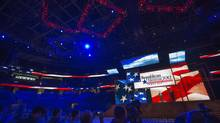 Republican National Committee chairman Reince Priebus unveils the stage for the upcoming Republican National Convention in Tampa on Monday. (SCOTT AUDETTE/Reuters)