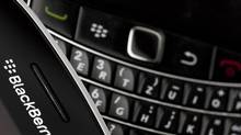 Research In Motion's BlackBerry smartphone handsets are pictured in this illustration picture taken in Lavigny, July 21, 2012. Samsung says it has not considered buying the Canadian tech company. (VALENTIN FLAURAUD/REUTERS)
