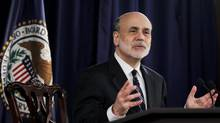 U.S. Federal Reserve Chairman Ben Bernanke speaks at a news conference following the monthly two-day meeting at the Federal Reserve in Washington, April 25, 2012. (JASON REED/REUTERS)
