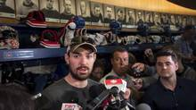 Montreal Canadiens goalie Carey Price talks with reporters at the team's training facility on May 31 in Brossard, Que. (Paul Chiasson/THE CANADIAN PRESS)