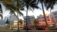 Renovated hotel buildings overlooking Ocean Drive. (ROBERTO SCHMIDT/AFP/Getty Images)