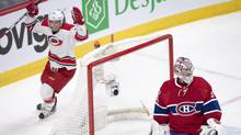 Carolina Hurricanes centre Derek Ryan celebrates after the second goal against Montreal Canadiens goalie Carey Price during NHL hockey action in Montreal, on March 23, 2017. (Ryan Remiorz/THE CANADIAN PRESS)