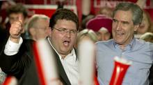 Tony Genco, left, and Liberal Leader Michael Ignatieff at a Vaughan by-election rally in November, 2010. (Kevin Van Paassen/The Globe and Mail/Kevin Van Paassen/The Globe and Mail)