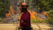 Fire crews keep a controlled burn in check at the Sechelt forest fire on B.C.'s Sunshine Coast, July 9, 2015. (John Lehmann/The Globe and Mail)