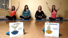 """Local yoga practitioners and creators of the movement """"Consent on the mat"""" consent cards, from left to right, Danielle Pope, Sarah Holmes De Castro, Carolyne Taylor and Jen Craig-Evans are photographed at Ajna Yoga in Victoria, B.C., Wednesday, February 2, 2017. (CHAD HIPOLITO/THE GLOBE AND MAIL)"""