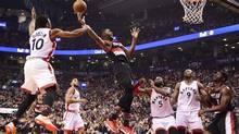 Portland Trail Blazers forward Maurice Harkless is fouled by Toronto Raptors guard DeMar DeRozan on Feb. 26, 2017. (Frank Gunn/CP)