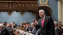 Quebec Premier Philippe Couillard speaks during question period Wednesday, November 5, 2014 at the legislature in Quebec City. (Jacques Boissinot/THE CANADIAN PRESS)