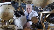Astronomer Patrick Moore recording the 650th The Sky at Night for BBC television at his home in Selsey, West Sussex, Britain, on Dec. 18, 2006 (Roger Bamber/Rex Feature Ltd.)