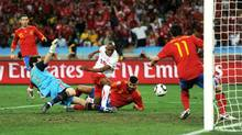 Gelson Fernandes of Switzerland scores the first goal during the 2010 FIFA World Cup South Africa Group H match between Spain and Switzerland at Durban Stadium on June 16, 2010 in Durban, South Africa. (Jasper Juinen/Getty Images)