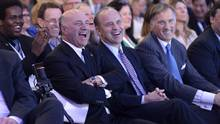 Kevin O'Leary, left, seen with Rick Peterson and Maxine Bernier during a Conservative Party leadership debate on Friday, Feb. 24 in Ottawa. (Justin Tang/THE CANADIAN PRESS)