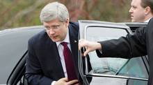 Prime Minister Stephen Harper arrives to Rideau Hall to tell Governor-General David Johnston he is prepared to form government on on May 4, 2011. (Sean Kilpatrick/THE CANADIAN PRESS)