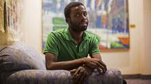 Former Toronto Star writer Desmond Cole speaking about the issue of Canada wide police carding in Calgary, Alberta, July 13, 2017. (Todd Korol/The Globe and Mail)