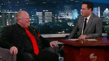 A screen grab of Rob Ford on comedian Jimmy Kimmel's late-night show.