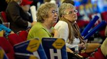 Tory supporters watch as results begin to come at Tim Hudak's Ontario election night headquarters in Niagara Falls on Oct. 6, 2011. (Kevin Van Paassen/Kevin Van Paassen/The Globe and Mail)