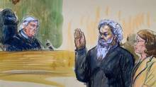 This June 28, 2014, artist's rendering shows United States Magistrate, Judge John Facciola, swearing in the defendant, Libyan militant Ahmed Abu Khatallah, wearing a headphone, as his attorney Michelle Peterson watches during a hearing at the federal U.S. District Court in Washington. (Dana Verkouteren/AP)