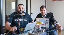 Ara Mamourian (left) and Matthew Slutsky (right) recording their Urbanize This podcast (BuzzBuzzHome)