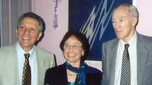 Biographers Max and Monique Nemni are shown with former prime minister Pierre Trudeau in an undated image. (Handout)
