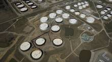 Crude oil storage tanks are seen from above at the Cushing oil hub, in Cushing, Oklahoma, U.S. (Nick Oxford/REUTERS)