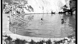 By 1902, the Banff springs (lower basin shown) were famous and had been turned into a bathing destination for well-heeled visitors from near and far.