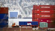 Shipping containers sit at Port Metro in Vancouver in this file photo. (Ben Nelms For The Globe and Mail)