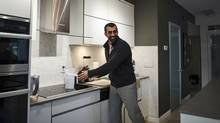 Michael Mikail is photographed on October 4, 2016 in the home that he rents with a friend in downtown Toronto. (Christopher Katsarov for The Globe and Mail)